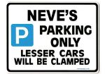 NEVE'S Personalised Parking Sign Gift | Unique Car Present for Her |  Size Large - Metal faced